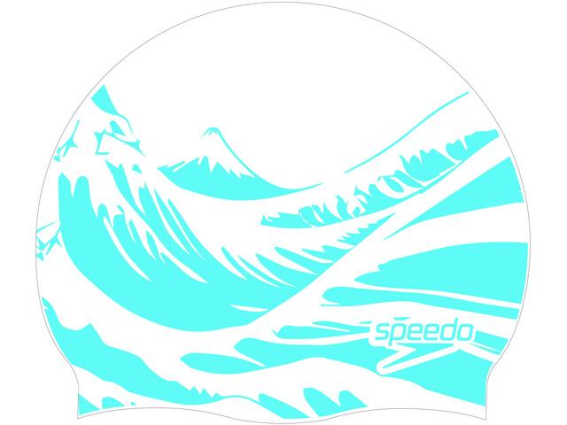 speedo Slogan Print Czepek pływacki, biały/niebieski